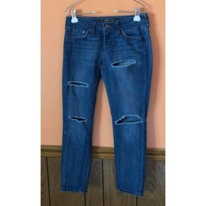 Hippie Distressed Skinny Ankle Jeans